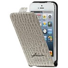 Guess Crocodile Beige Flip pouzdro iPhone 5